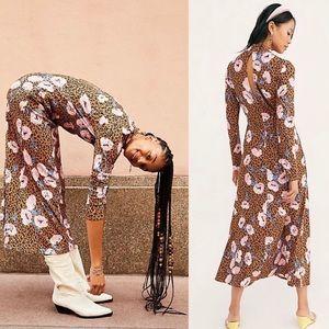 Free People | Retro Romance Leopard Midi Dress S